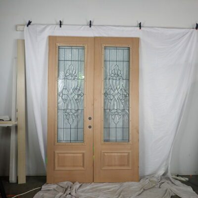 "60.5"" Double Front Door Hybrid Fiberglass outside and Mahogany inside to replace a sidelite unit with transom"