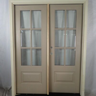 "60.5"" Front Double Door Unit 6 Lite Stainable Fiberglass to replace sidelite unit"